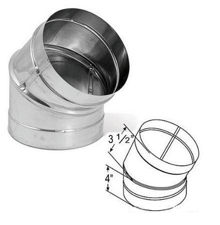 "Simpson 6"" Single Wall Stainless Steel 45º Elbow, #1645SS - Stove Parts 4 Less"