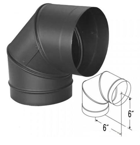 "Simpson 6"" Single Wall Black 90º Elbow, 6DBK-E90 by Duravent - Stove Parts 4 Less"