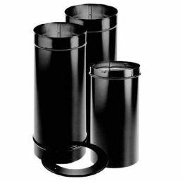 "Simpson DuraBlack 6"" Single Wall Black Adjustable Slip Connector Stovepipe Kit, 6DBK-KSP - Stove Parts 4 Less"