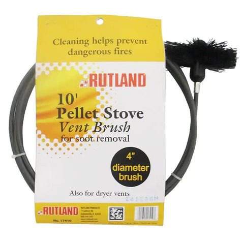 "4"" Pellet stove vent pipe cleaning kit; 4"" Brush with 10' Flex Handle, by Rutland #17410 - Stove Parts 4 Less"