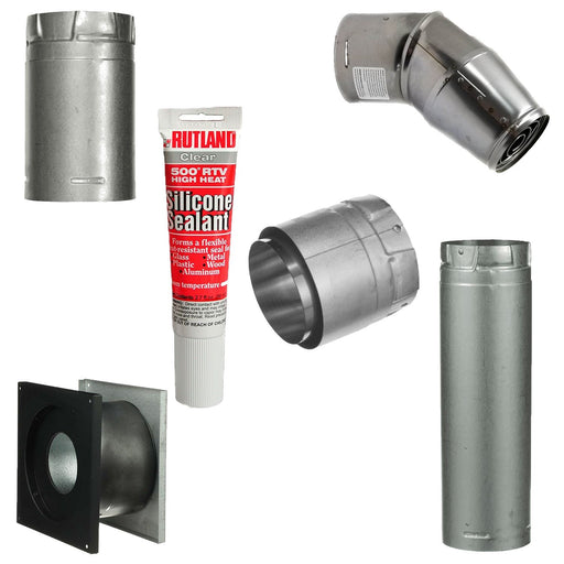 Pellet Stove Vent Pipe Kit With 3 Inch Horizontal Pipe With Dura Vent Pro Pipe