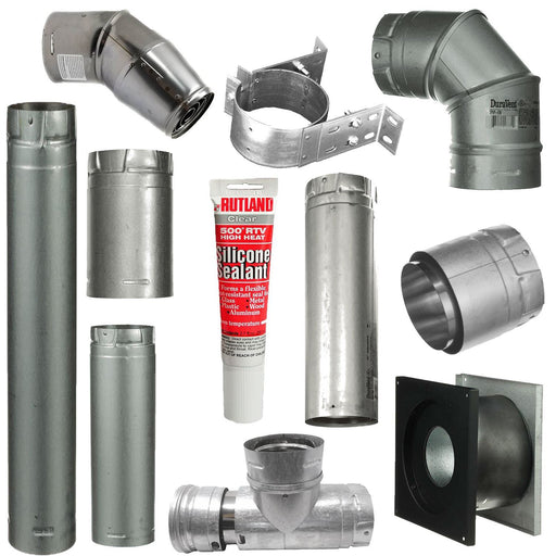 Pellet Stove Vent Pipe Kit With 3 Inch Horizontal Pipe With Vertical Rise With Dura Vent Pro