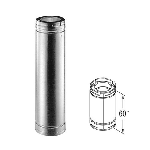 Vent Pipe - Double W, Galvanized, 46DVA-60 - Stove Parts 4 Less