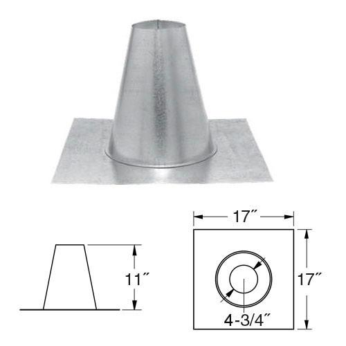 "4"" Simpson PelletVent PRO, Tall Cone Roof Flashing, 4PVP-FF - Stove Parts 4 Less"
