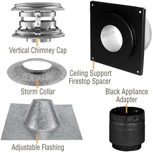 "4"" Vertical Kit for Flat Ceiling Simpson PelletVent PRO, 4PVP-KVA - Stove Parts 4 Less"