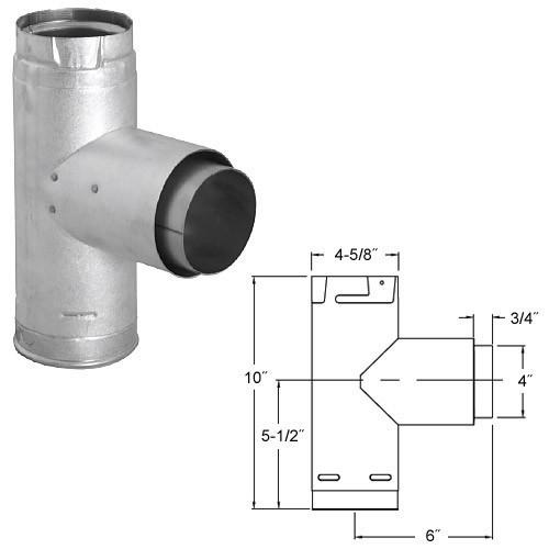 "Simpson 4"" Pellet Stove Adapter Tee with Clean-Out Cap, 4PVP-TAD - Stove Parts 4 Less"