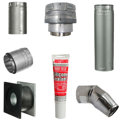 Pellet Stove Vent Pipe Kit With 4 Inch Horizontal Pipe With Dura Vent Pro