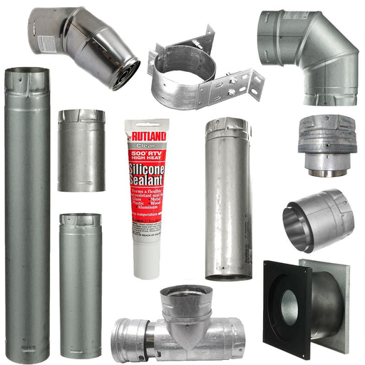 Pellet Stove Vent Pipe Kit With 4 Inch Horizontal Pipe With Vertical Rise With Dura Vent Pro