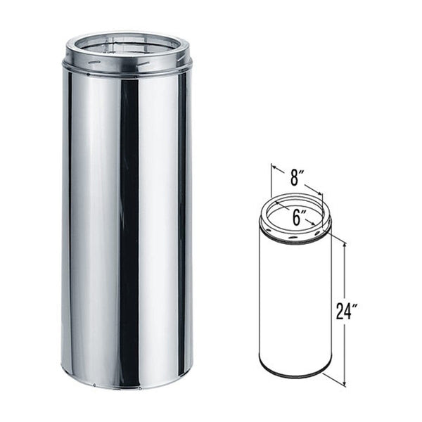 6'' x 24'' DuraTech Stainless Steel Chimney Pipe - 6DT-24SS - Stove Parts 4 Less