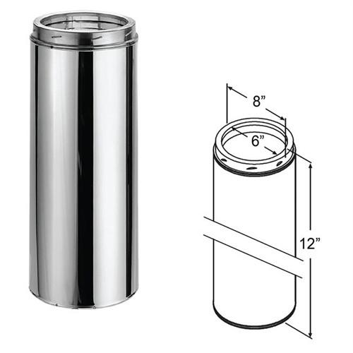 "DuraVent DuraTech 6''D x 12""L ""Class A"" DuraTech Stainless Chimney, 9403 - Stove Parts 4 Less"