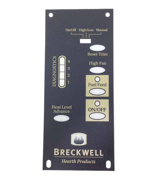 Breckwell Control Board Decal For the 1RPM Board , #C-L-101 - Stove Parts 4 Less