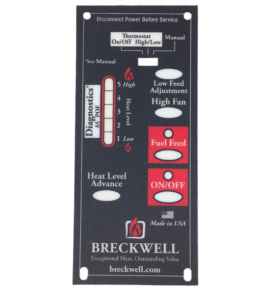Breckwell Control Board Decal, #C-L-401 - Stove Parts 4 Less