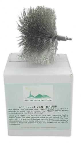 "4"" Pellet Vent Brush. threaded 1/4"" adapter. PP5504 - Stove Parts 4 Less"