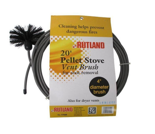 "4"" Pellet stove vent pipe cleaning kit; 4"" Brush with 20' Flex Handle, by Rutland #17420 - Stove Parts 4 Less"
