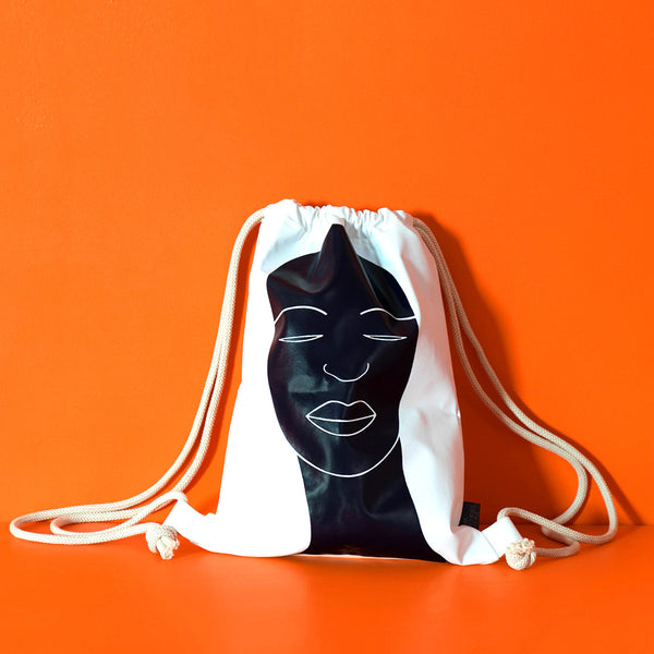African head drawstring backpack