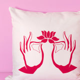 Hands & Lotus pillow