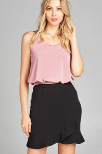Ladies fashion v-neck elastic hem cami top