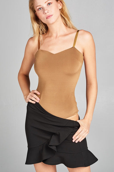 Ladies fashion heart neck cami bodysuit