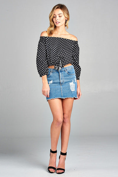 Ladies fashion off the shoulder w/knot front dot print cotton spandex top