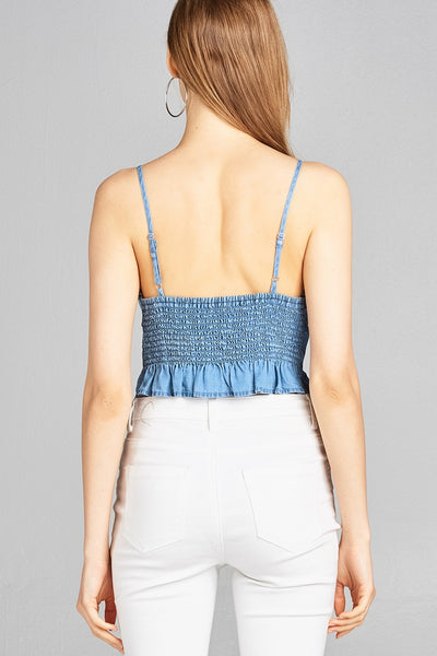 Ladies fashion bustier neckline w/eyelet detail smocked back ruffle hem chambray crop top - Blue