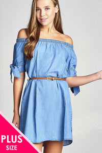 Ladies fashion plus size short sleeeve cuff w/bow tie off the shoulder w/belt chambray dress - Blue