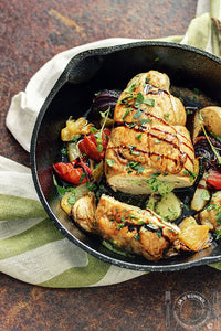 Punjene pileće grudi i ratatuj iz rerne / Stuffed chicken breasts with oven-roasted ratatouille