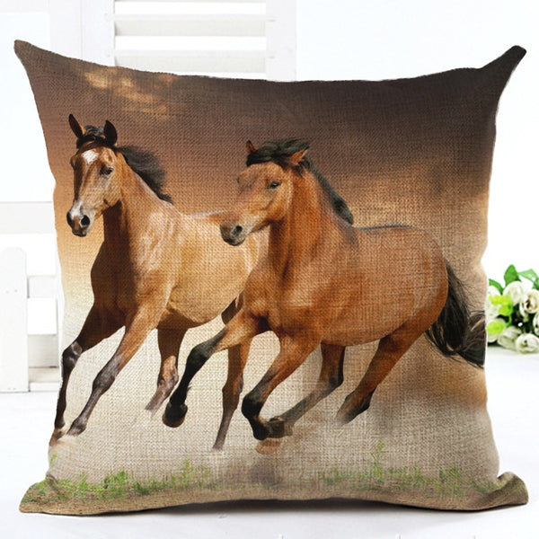 Cotton Linen Horse Print Decorative Pillow