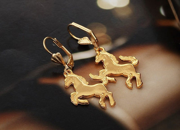 Gold Jumping Horse Earrings
