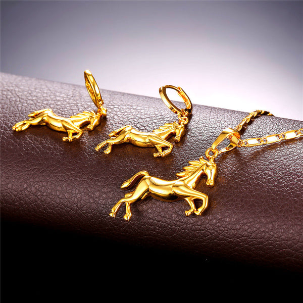 Jumping Horse Earring & Necklace Set