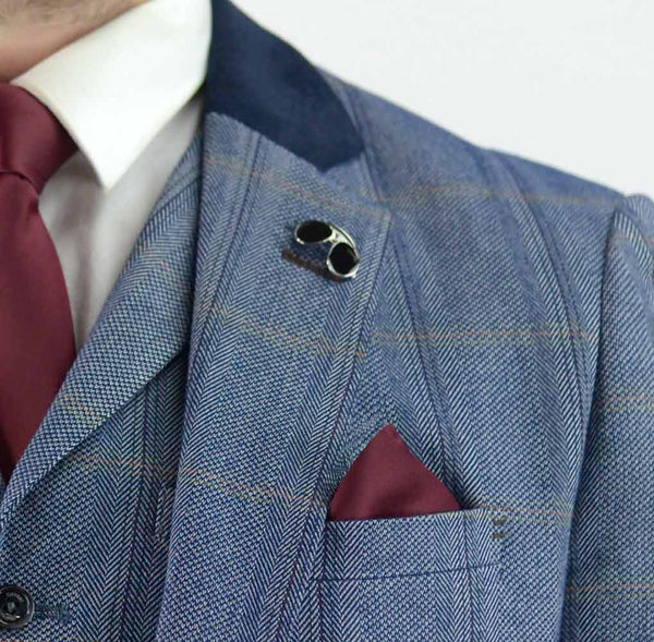 House Of Cavani Tweed Connall Blue Three Piece Suit Wedding Mens