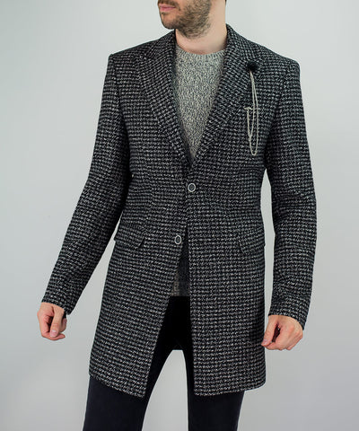House Of Cavani Signature Collection Gus Overcoat Houndstooth Grey Black
