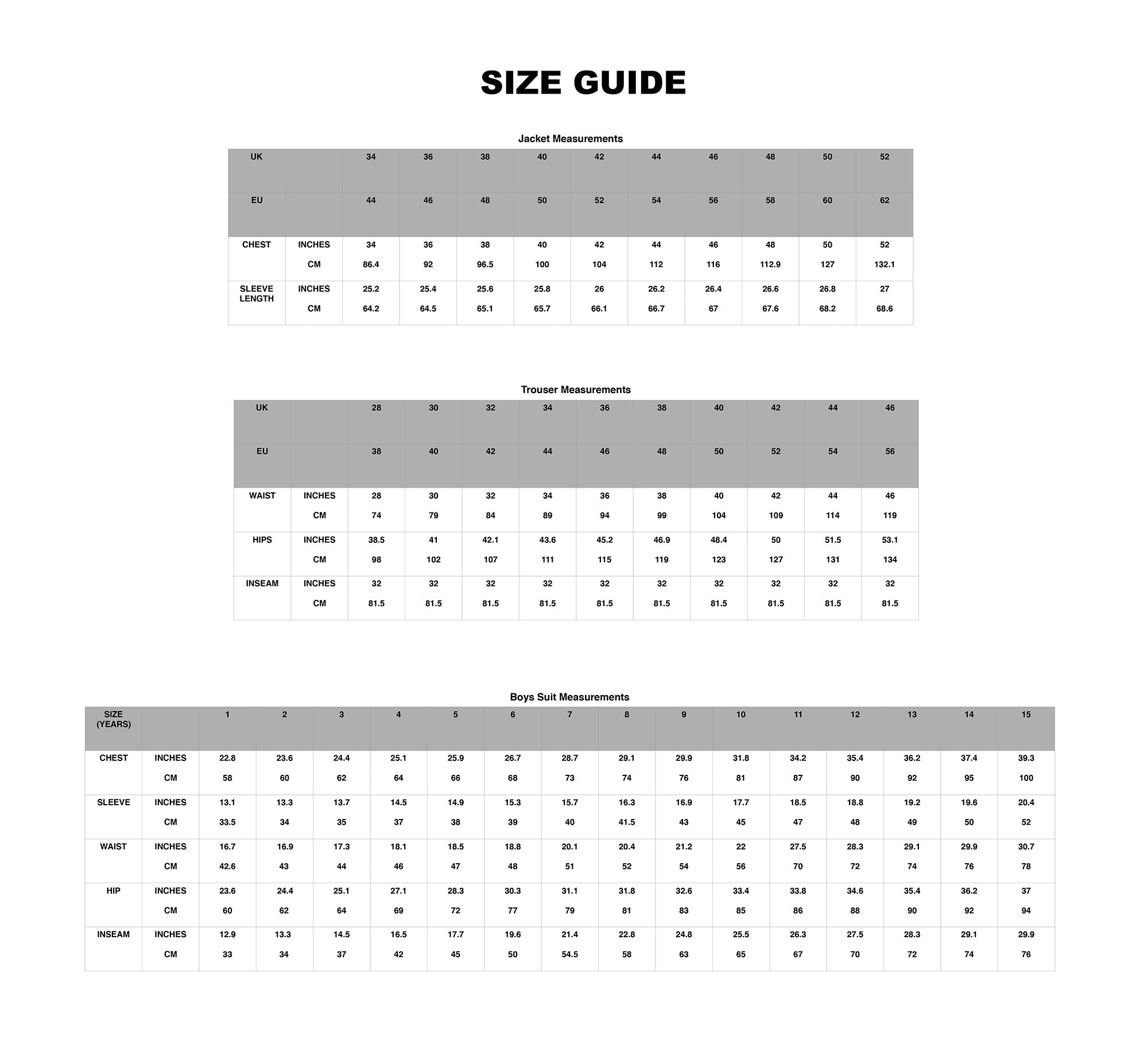 House Of Cavani Size Guide Numbers