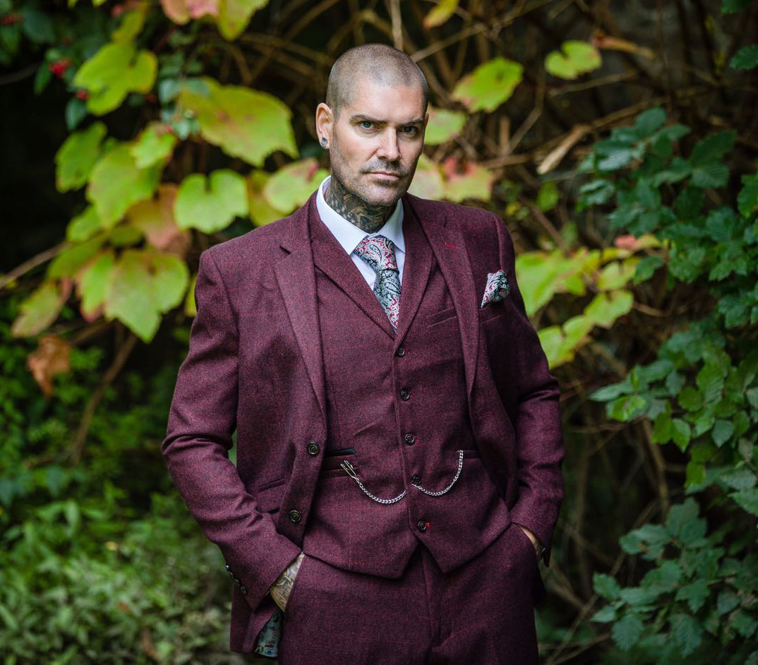 House Of Cavani Shane Lynch Tweed Draco Wine Burgundy Suit