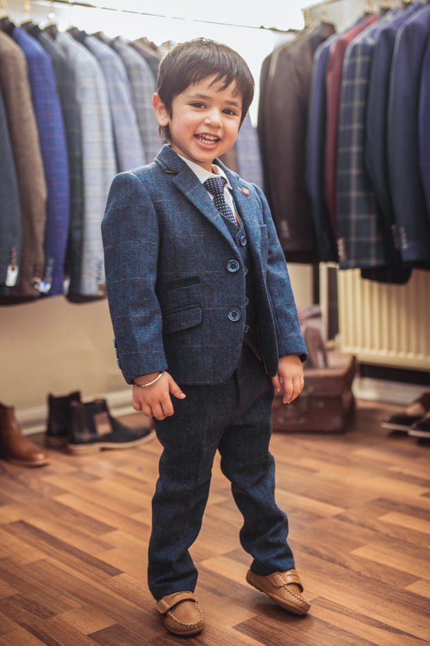 Carnegi Navy Tweed Boys Suit