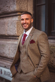 Gaston Sage Tweed Three Piece Suit