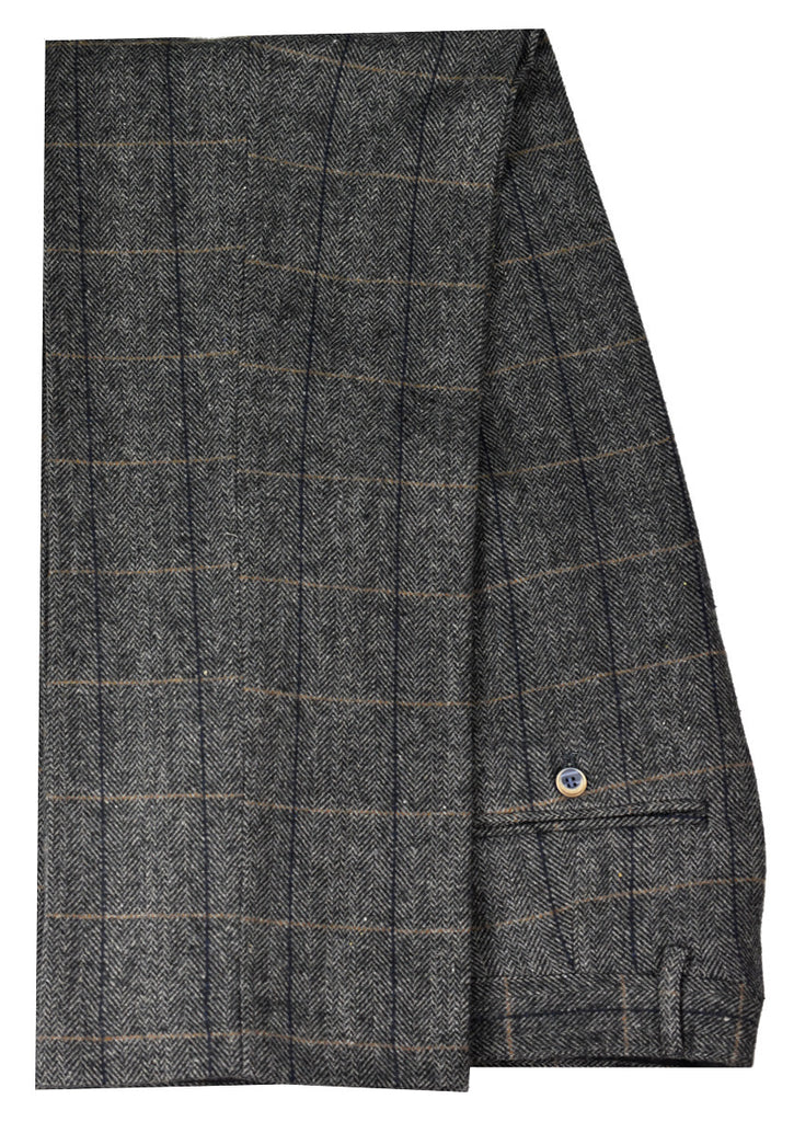 House Of Cavani Mens Tweed Trousers Dark Grey