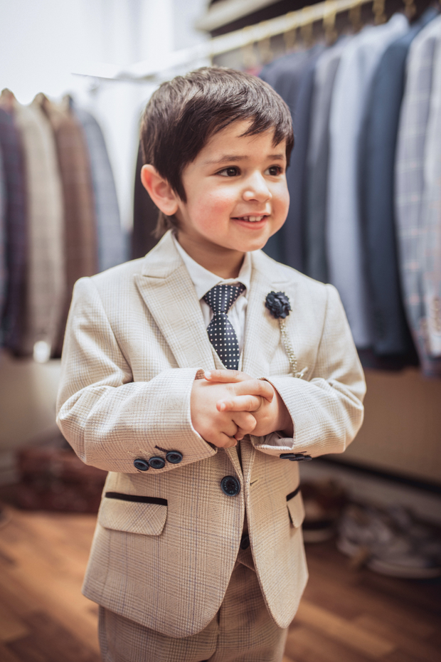 Caridi Beige Boys Three Piece Suit