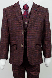 Carly Wine Boys Three Piece Suit