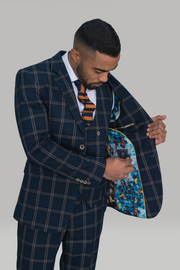 Hardy Navy Checked Three Piece Suit