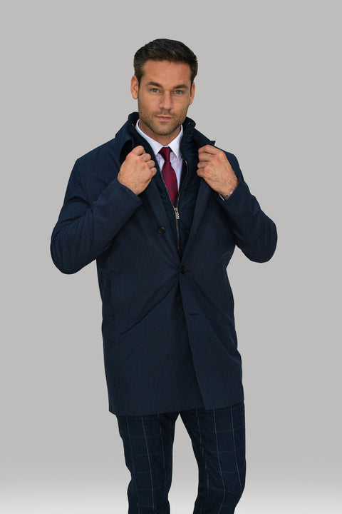 Brando Navy Mac Coat