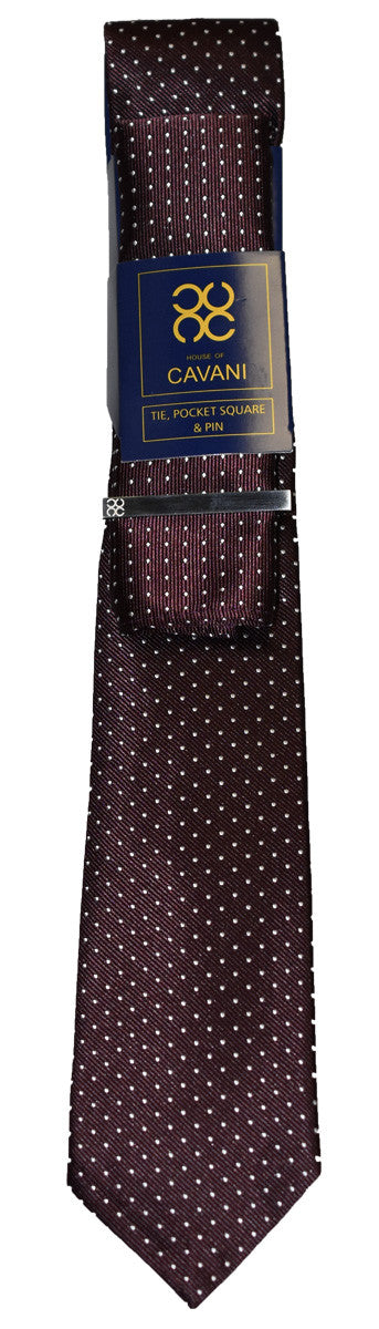 Burgundy Dot Tie Set - Cavani