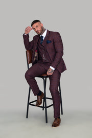 Carly Tweed Wine Three Piece Suit