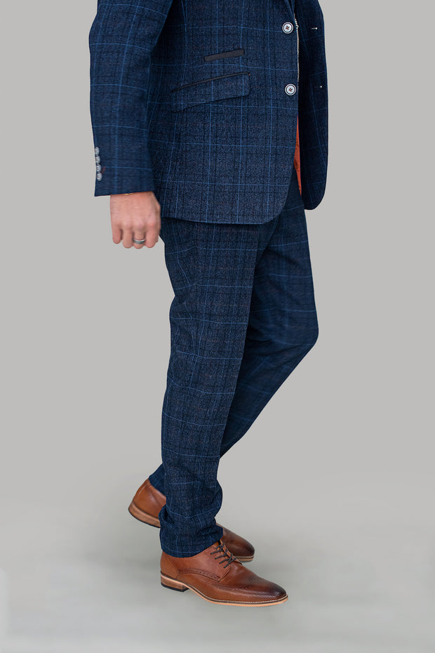Cody Blue Check Slim Fit Trousers