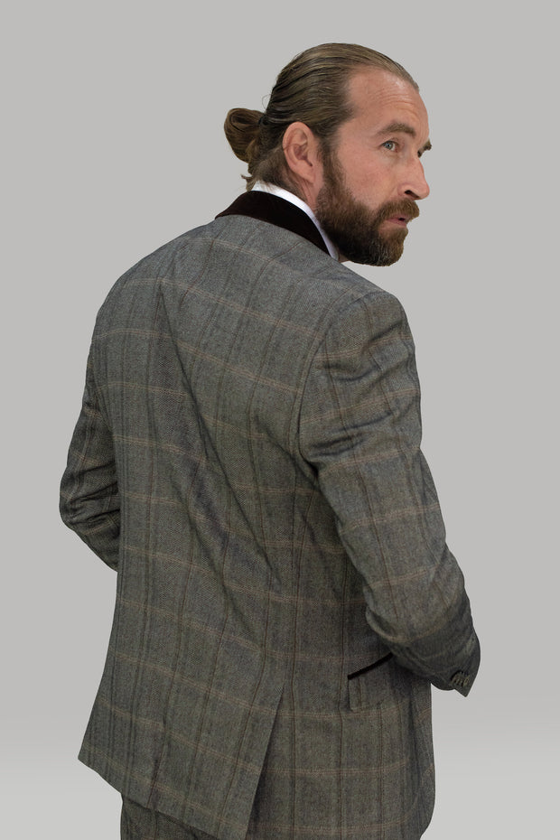 Connall Brown Tweed Check Blazer