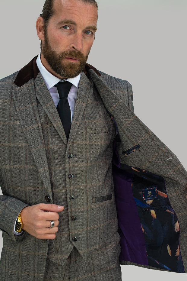 Connall Brown Tweed Check Suit