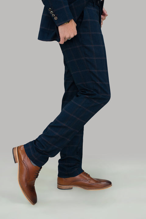 Connall Navy Tweed Check Trousers