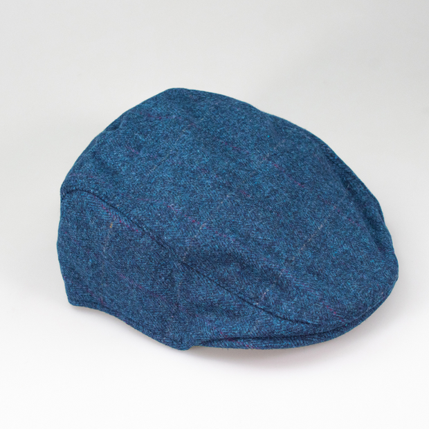 Carnegi Navy Tweed Check Flat Cap