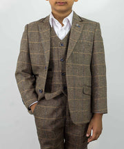 Albert Brown Tweed Check Boys Suit