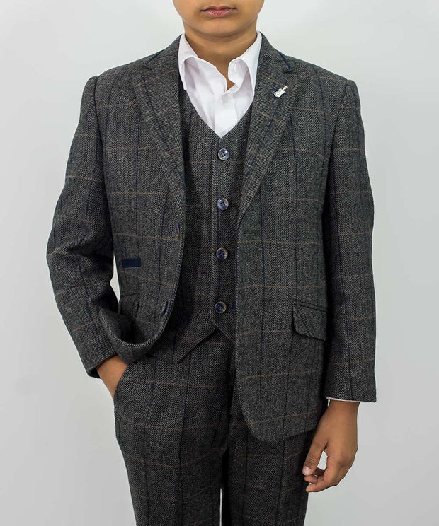 Albert Grey Tweed Check Boys Suit