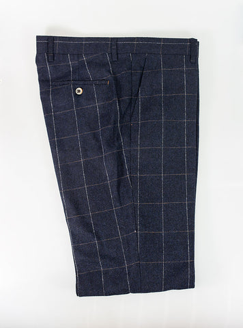 Angels Navy Check Tweed Trousers